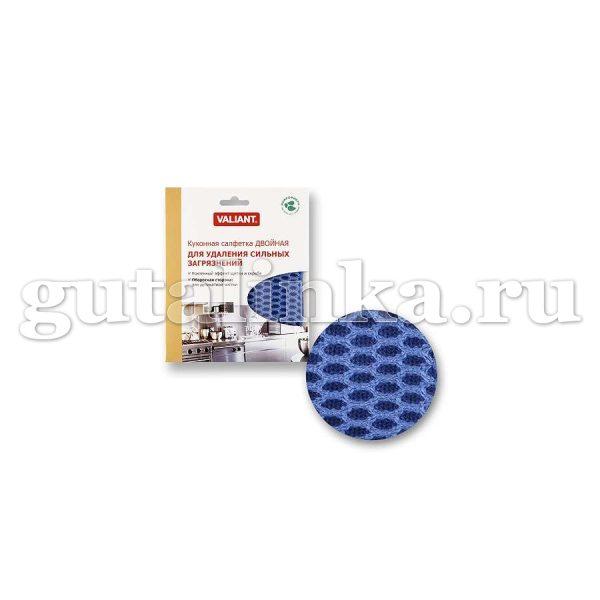 Салфетка для уборки кухонная двухсторонняя VALIANT 15х175 см голубая - VAL W18-B