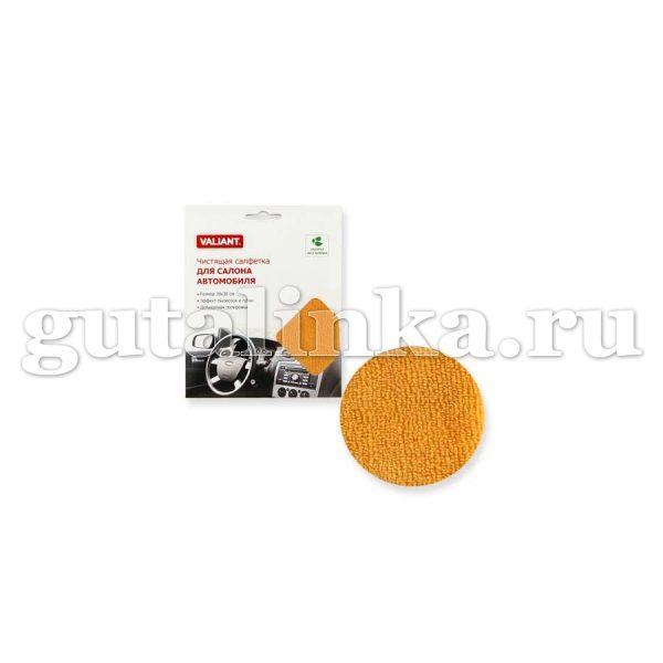 Салфетка для уборки салона автомобиля из микрофибры VALIANT 30х30 см оранжевая - VAL H37-R