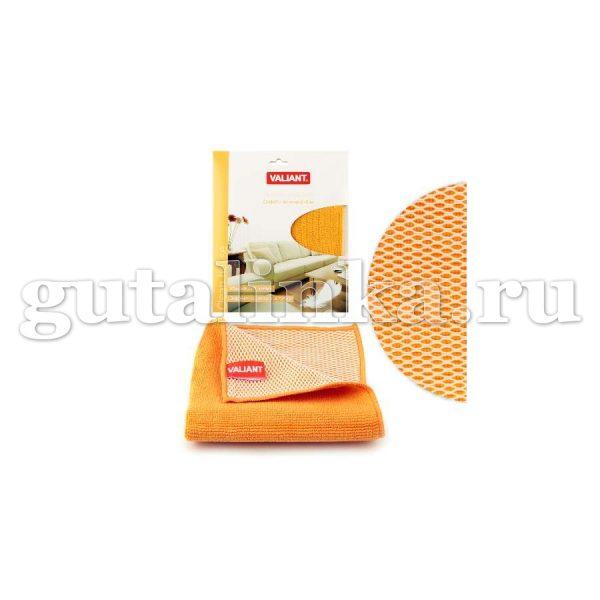 Салфетка для уборки из микрофибры двухсторонняя VALIANT 30х30 см оранжевая - VAL WF01-O