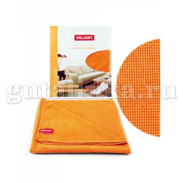 Салфетка для уборки из микрофибры VALIANT 30х30 см оранжевая - VAL H38-O