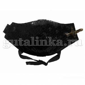 Автопятка Классическая AutoHeel Кроко лак черная для женской обуви на каблуке застёжка карабин одна штука - AH-2301