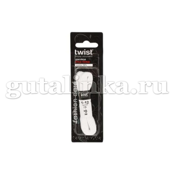 TWIST Fashion Шнурки 90 см style thing TWIST FASHION плоские черные белые -