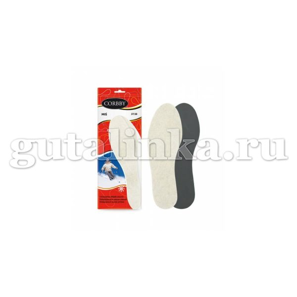 Стельки CORBBY зимние Mis шерстяные низкий ворс безразмерные - corb1281c