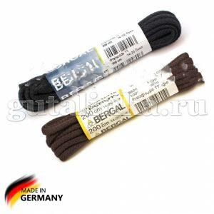 BERGAL Шнурки круглые плетеные 200 см черные тёмно-коричневые -