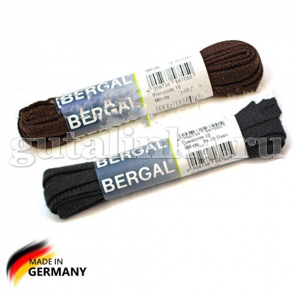 BERGAL Шнурки плоские широкие 180 см черные тёмно-коричневые -