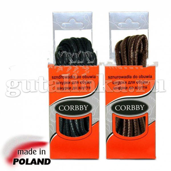 CORBBY Шнурки 100см круглые толстые с пропиткой черные коричневые -