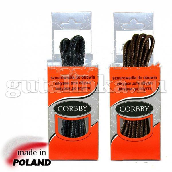 CORBBY Шнурки 100см круглые тонкие с пропиткой черные коричневые -