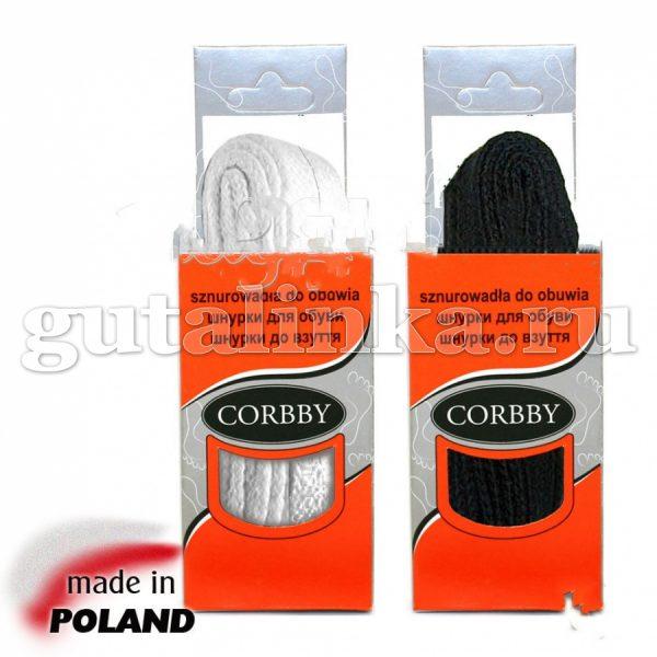 CORBBY Шнурки 120 см плоские черные белые -