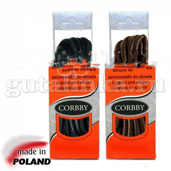 CORBBY Шнурки 120см круглые толстые с пропиткой черные коричневые -
