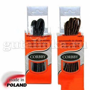 CORBBY Шнурки 120см круглые тонкие с пропиткой черные коричневые -