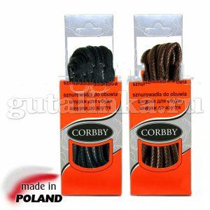CORBBY Шнурки 150см круглые толстые с пропиткой черные коричневые -