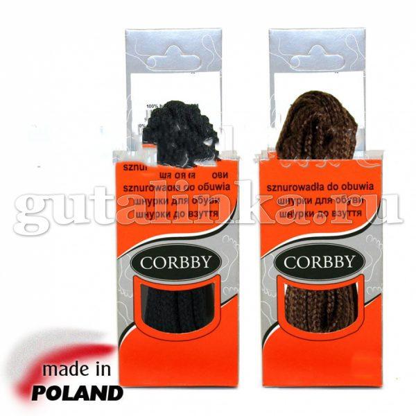 CORBBY Шнурки 150см круглые толстые черные коричневые -