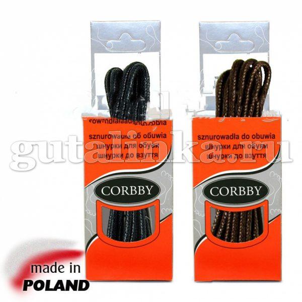 CORBBY Шнурки 150см круглые тонкие с пропиткой черные коричневые -