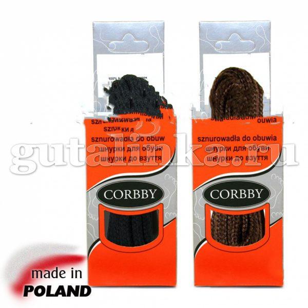 CORBBY Шнурки 180см круглые толстые черные коричневые -