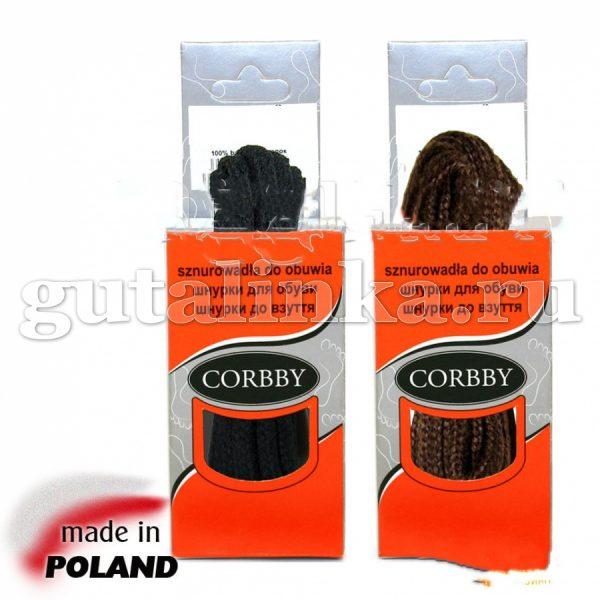 CORBBY Шнурки 200 см круглые толстые черные коричневые -