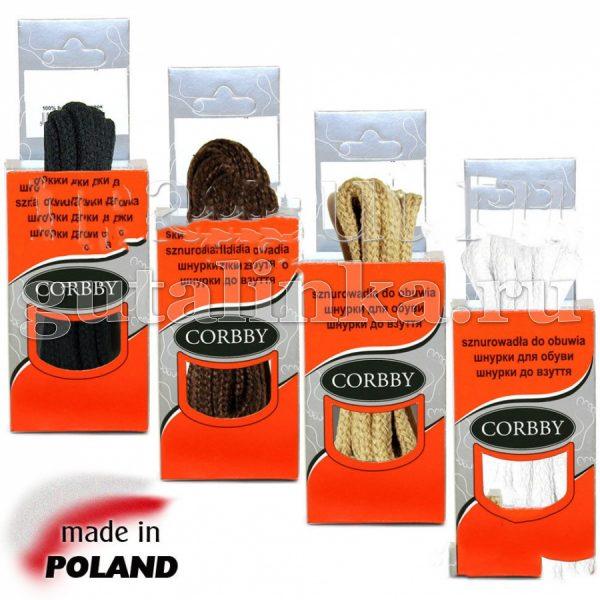CORBBY Шнурки 60 см круглые средние цветные -