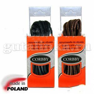 CORBBY Шнурки 60 см круглые толстые с пропиткой черные коричневые -