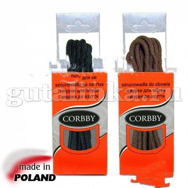 CORBBY Шнурки 60 см круглые тонкие черные коричневые -