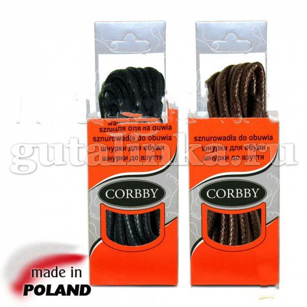 CORBBY Шнурки 75см круглые толстые с пропиткой черные коричневые -