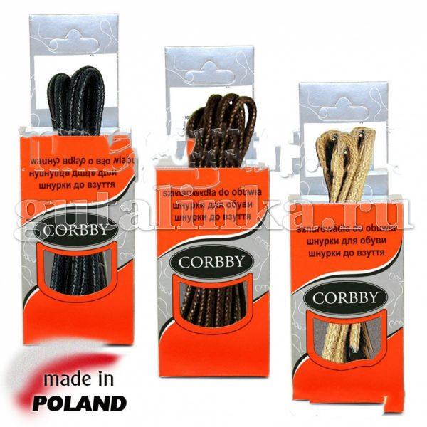 CORBBY Шнурки 75см круглые тонкие с пропиткой цветные -