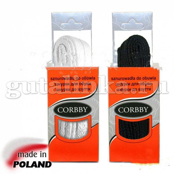 CORBBY Шнурки 90см плоские черные белые -