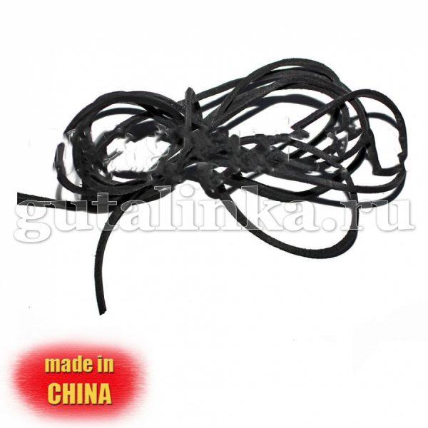 Шнурок из натуральной кожи квадратный 25 ммх2 мм чёрный - D1203-BL