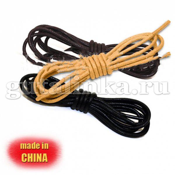 Шнурки круглые тонкие вощеные 100 см диаметр 25 мм цветные -