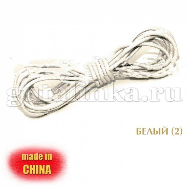 Шнурки круглые тонкие вощеные диаметр 25 мм 180 см белые - 180ШКТВ25/02
