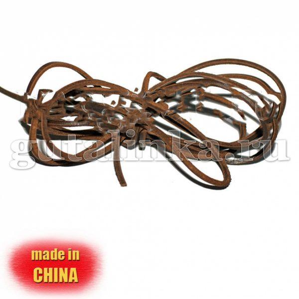 Шнурок из натуральной кожи квадратный 3 х 3 мм коричневый - D1203-DB