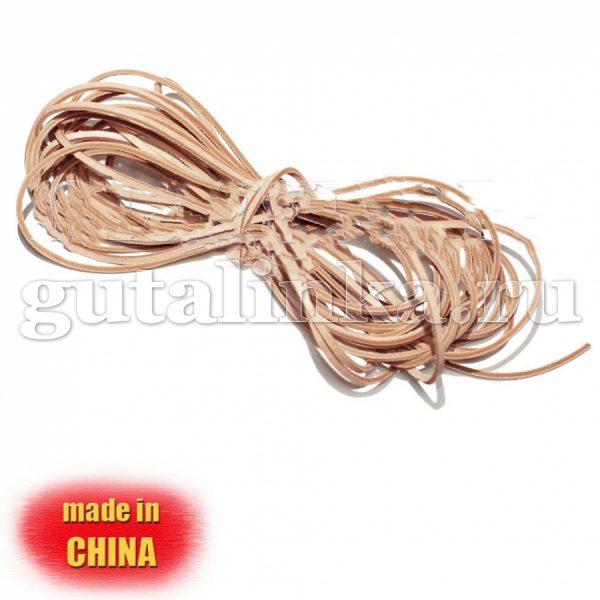 Шнурок из натуральной кожи квадратный 25 мм х 3 мм бежевый - D1203-Nt