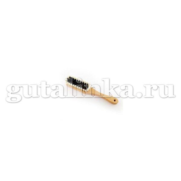 Щётка одёжная с ручкой 240Х40Х16 80 пучков бук воск искусственная щетина чёрнаябелая ЭКОБРАШ - Р/202