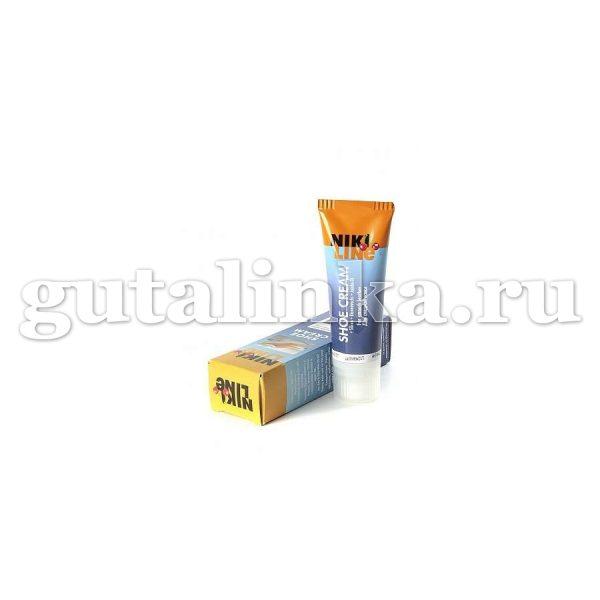 Крем для ухода за гладкой кожей Shoe Cream NIKI LINE тюбик с губкой цветной 75 мл -
