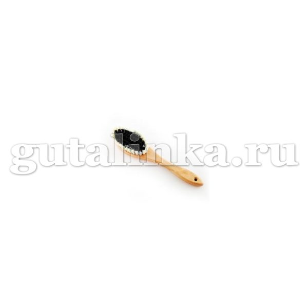 Щётка одёжная с ручкой Овальная 240Х54Х16 79 пучков бук воск искусственная щетина чёрнаябелая ЭКОБРАШ - Р/213