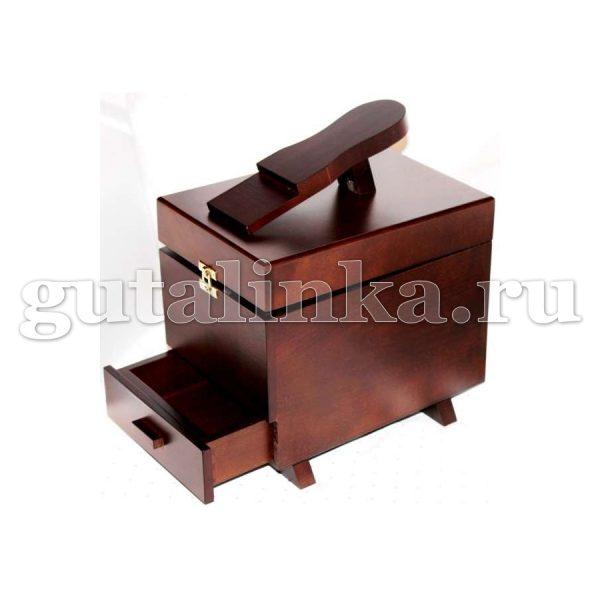 Ящик деревянный с подставкой для ноги для обувной косметики и аксессуаров -