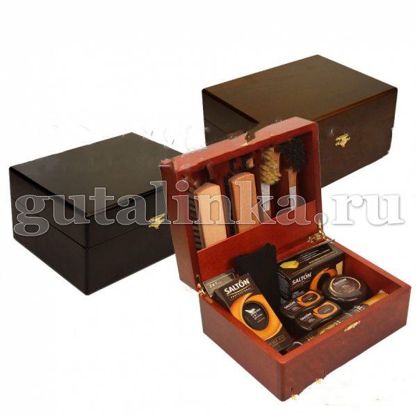 Шкатулка деревянная с набором обувной косметики SALTON для гладкой кожи -