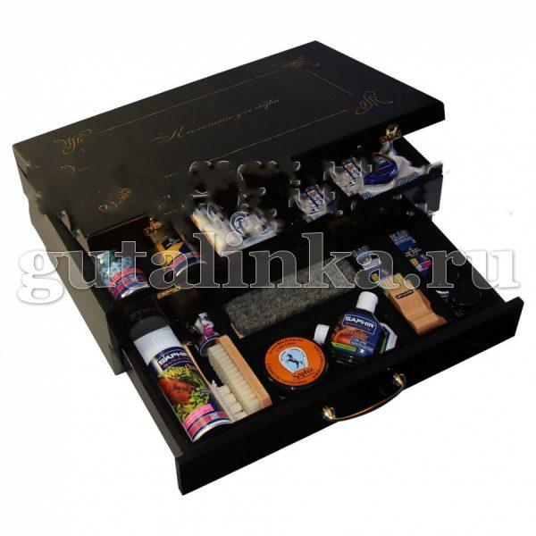 Набор обувной косметики SAPHIR в черном деревянном ларце - HC-4125/нБ