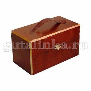 Набор обувной косметики Saphir в деревянном ларце с ручкой из кожи 11 предметов -
