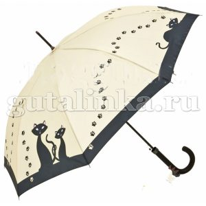 """VON LILIENFELD Зонт-трость полуавтоматический """"Черные кошки"""" купол 100 см - 5685A"""