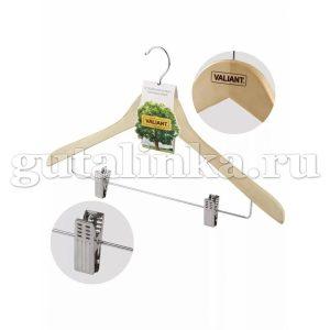 Вешалка деревянная прямая с металлическими клипсами и перекладиной 445 см VALIANT -