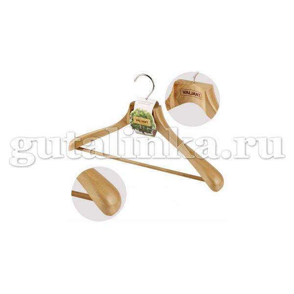 Вешалка деревянная для костюмов с утолщеными расширенными плечиками с перекладиной 445 см VALIANT - VAL 16902