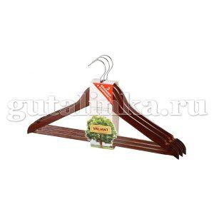 Набор вешалок 3 шт деревянная изогнутая 445 см с не скользящей перекладиной VALIANT -