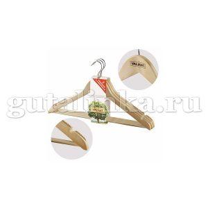 Набор вешалок деревянных изогнутых с перекладиной 3 шт с противоскользящими вставками и выемками на плечах 445 см VALIANT - VAL 13014S