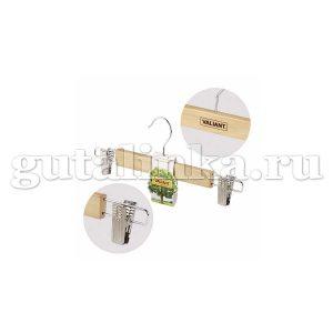Вешалка деревянная для брюк 32 см с металлическими клипсами VALIANT - VAL 22508