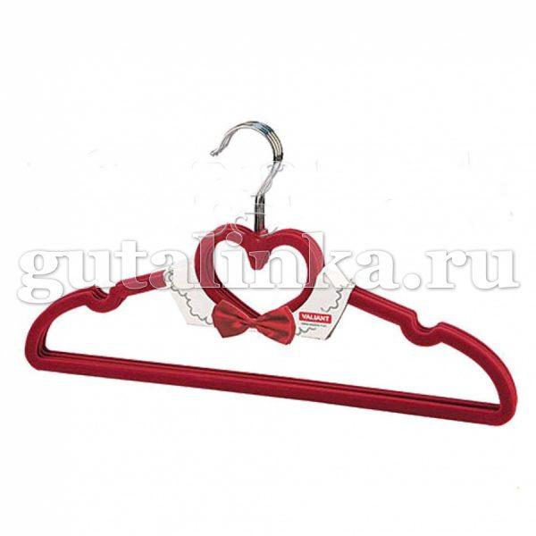 Набор вешалок бархатных красные 4 шт c перекладиной с выемками 42 см VALIANT - VAL 89R1