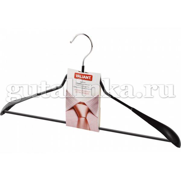 Вешалка металлическая с расширенными плечиками перекладиной с зажимами и противоскользящим покрытием 445 см VALIANT -